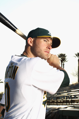 PHOENIX, AZ - FEBRUARY 24:  Daric Barton #10 of the Oakland Athletics poses for a portrait during media photo day at Phoenix Municipal Stadium on February 24, 2011 in Phoenix, Arizona.  (Photo by Ezra Shaw/Getty Images)