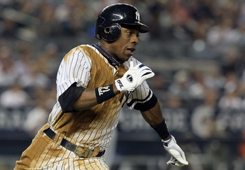 NEW YORK - AUGUST 16:  Curtis Granderson #14 of the New York Yankees runs out a seventh inning double against the Detroit Tigers on August 16, 2010 at Yankee Stadium in the Bronx borough of New York City.  (Photo by Jim McIsaac/Getty Images)