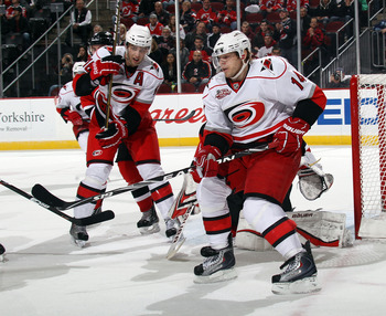 NEWARK, NJ - FEBRUARY 16:  Sergei Samsonov #14 of the Carolina Hurricanes skates against the New Jersey Devils at the Prudential Center on February 16, 2011 in Newark, New Jersey.  (Photo by Bruce Bennett/Getty Images)