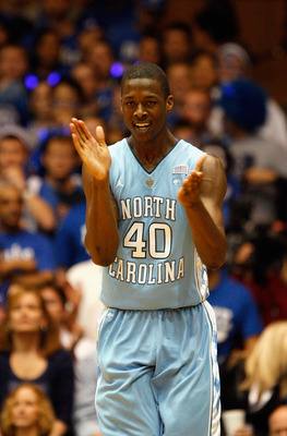DURHAM, NC - FEBRUARY 09:  Harrison Barnes #40 of the North Carolina Tar Heels celebrates after a basket against the Duke Blue Devils during their game at Cameron Indoor Stadium on February 9, 2011 in Durham, North Carolina.  (Photo by Streeter Lecka/Gett