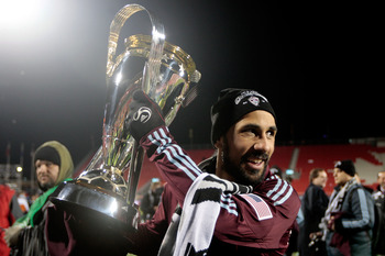 TORONTO, ON - NOVEMBER 21:  Captain Pablo Mastroeni #25 of the Colorado Rapids holds the Philip F. Anschutz Trophy in celebration of their 2-1 overtime victory against FC Dallas during the 2010 MLS Cup match at BMO Field on November 21, 2010 in Toronto, C
