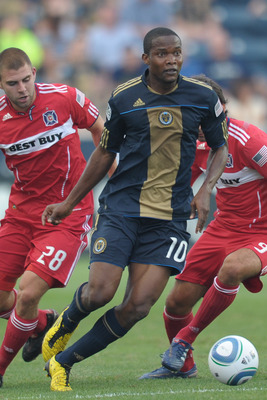 CHESTER, PA- SEPTEMBER 11: Danny Mwanga #10 of the Philadelphia Union plays the ball during the game against the Chicago Fire at PPL Park on September 11, 2010  in Chester, Pennsylvania. The Union won 1-0. (Photo by Drew Hallowell/Getty Images)