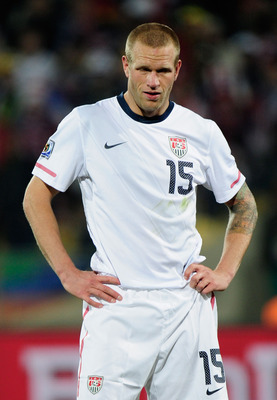 RUSTENBURG, SOUTH AFRICA - JUNE 26: Jay Demerit of the United States looks dejected as Ghana go ahead in extra time during the 2010 FIFA World Cup South Africa Round of Sixteen match between USA and Ghana at Royal Bafokeng Stadium on June 26, 2010 in Rust