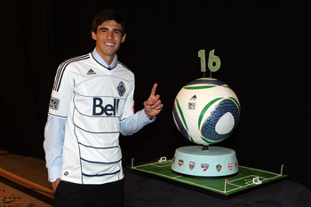 BALTIMORE - JANUARY 13: First selection Omar Salgado of the Vancouver Whitecaps poses for a photo during the 2011 MLS SuperDraft on January 13, 2011 at the Baltimore Convention Center in Baltimore, Maryland. (Photo by Ned Dishman/Getty Images)