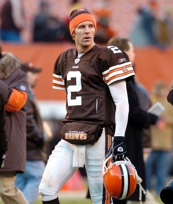 CLEVELAND, OH - DECEMBER 21:  Quarterback Tim Couch #2 of the Cleveland Browns walks off the field after the game against the Baltimore Ravens on December 21, 2003 at Cleveland Browns Stadium in Cleveland, Ohio. Baltimore defeated Cleveland 35-0.  (Photo