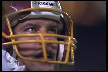 10 Dec 1995:  Quarterback Heath Shuler #5 of the Washington Redskins takes a breather while there is a break in the action during the game against the New York Giants at Giants Stadium in East Rutherford, New Jersey.  The Giants defeated the Redskins 20-1