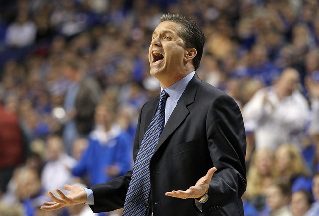 LEXINGTON, KY - MARCH 01:  John Calipari the Head Coach of the Kentucky Wildcats gives instructions to his team during the SEC game against the Vanderbilt Commodores at Rupp Arena on March 1, 2011 in Lexington, Kentucky.  (Photo by Andy Lyons/Getty Images