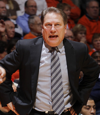 CHAMPAIGN, IL - JANUARY 18: Head coach Tom Izzo of the Michigan State Spartans argues with an official during the game against the Illinois Fighting Illini at Assembly Hall on January 18, 2011 in Champaign, Illinois. Illinois defeated Michigan State 71-62