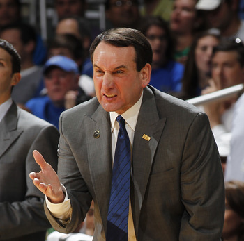 CORAL GABLES, FL - FEBRUARY 13: Head coach Mike Krzyzewski of the Duke Blue Devils reacts to a foul call during first half action against the Miami Hurricanes on February 13, 2011 at the BankUnited Center in Coral Gables, Florida. (Photo by Joel Auerbach/