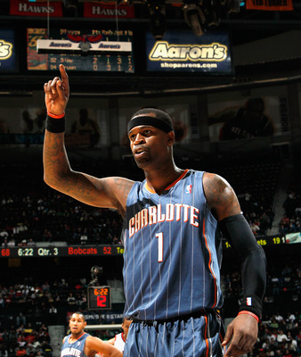 ATLANTA, GA - FEBRUARY 12:  Stephen Jackson #1 of the Charlotte Bobcats reacts after being called for a foul against the Atlanta Hawks at Philips Arena on February 12, 2011 in Atlanta, Georgia.  NOTE TO USER: User expressly acknowledges and agrees that, b
