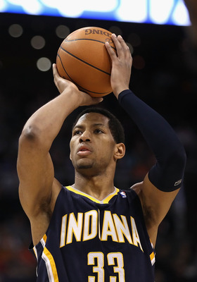 PHOENIX - DECEMBER 03:  Danny Granger #33 of the Indiana Pacers shoots a free throw shot during the NBA game against the Phoenix Suns at US Airways Center on December 3, 2010 in Phoenix, Arizona.  The Suns defeated the Pacers 105-97.  NOTE TO USER: User e