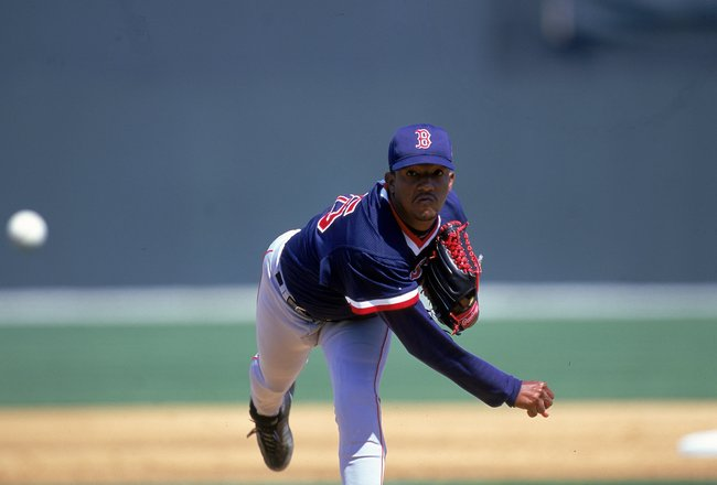 6 Mar 2000: Pedro Martinez #45 of the Boston Red Sox winds back to pitch the ball during the Spring Training Game against the Texas Rangers at Charlotte County Stadium in Port Charlotte , Florida.