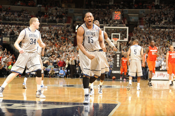WASHINGTON, DC - FEBRUARY 26:  Austin Freeman #15 of the Georgetown Hoyas reacts to a basket during a college basketball game against the Syracuse Orange on February 26, 2011 at the Verizon Center in Washington, DC  The Orange 58-54.  (Photo by Mitchell L