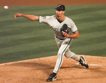 14 Oct 1997:  Pitcher Kevin Brown of the Florida Marlins pitches against the Atlanta Braves in game six of the National League Championship Series at Turner Field in Atlanta, Georgia. Mandatory Credit: Andy Lyons/Allsport  DIGITAL IMAGE ONLY:  NO ORIGINAL