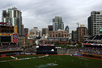 SAN DIEGO, CA - FEBRUARY 15:  A general view of the downtown skyline and the USA vs. Kenya Quarterfinal Match during the IRB Sevens World Series at Petco Park on February 15, 2009 in San Diego, California. (Photo by Donald Miralle/Getty Images)