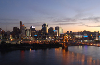A view of downtown Cincinnati at sunrise before the Bengals played the Indianapolis Colts in a preseason game, Sept. 2, 2005 in Cincinnati, Ohio. The Bengals defeated the Colts 38-0.  (Photo by Al Messerschmidt/Getty Images)