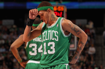 DENVER, CO - FEBRUARY 24:  Delonte West #13 of the Boston Celtics reacts against the Denver Nuggets during NBA action at the Pepsi Center on February 24, 2011 in Denver, Colorado. The Nuggets defeated the Celtics 89-75. NOTE TO USER: User expressly acknow