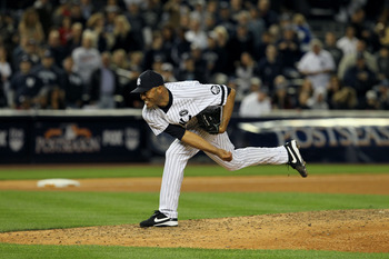NEW YORK - OCTOBER 09:  Mariano Rivera #42 of the New York Yankees throws a pitch against the Minnesota Twins during Game Three of the ALDS part of the 2010 MLB Playoffs at Yankee Stadium on October 9, 2010 in the Bronx borough of New York City.  (Photo b