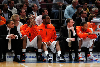 NEW YORK - MARCH 11: The Syracuse Orange bench looks on late in the game against the Georgetown Hoyas during the quarterfinal of the 2010 NCAA Big East Tournament at Madison Square Garden on March 11, 2010 in New York City.  (Photo by Michael Heiman/Getty