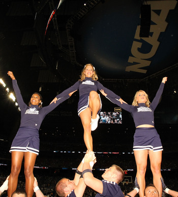 HOUSTON, TX - APRIL 04:  The Butler Bulldogs cheerleaders perform during a break in the game against the Connecticut Huskies during the National Championship Game of the 2011 NCAA Division I Men's Basketball Tournament at Reliant Stadium on April 4, 2011