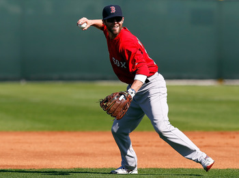 FORT MYERS, FL - FEBRUARY 19:  Infielder Dustin Pedroia #15 of the Boston Red Sox throws home during a Spring Training Workout Session at the Red Sox Player Development Complex on February 19, 2011 in Fort Myers, Florida.  (Photo by J. Meric/Getty Images)