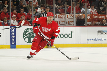 DETROIT, MI - FEBRUARY 24:  Todd Bertuzzi #44 of the Detroit Red Wings skates against the Dallas Stars on February 24, 2011 at Joe Louis Arena in Detroit, Michigan.  (Photo by Gregory Shamus/Getty Images)