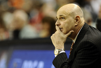 GREENSBORO, NC - MARCH 12:  Seth Greenberg, head coach of the Virginia Tech Hokies on the sidelines against the University of Miami Hurricanes in their quarterfinal game in the 2010 ACC Men's Basketball Tournament at the Greensboro Coliseum on March 12, 2