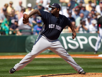 BRADENTON, FL - MARCH 14:  Pitcher C.C. Sabathia #52 of the New York Yankees pitches against the Pittsburgh Pirates during a Grapefruit League Spring Training Game at McKechnie Field on March 14, 2010 in Bradenton, Florida.  (Photo by J. Meric/Getty Image