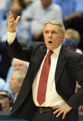 CHAPEL HILL, NC - FEBRUARY 27:  Head coach Gary Williams of the Maryland Terrapins reacts to a call against the North Carolina Tar Heels during their game at the Dean E. Smith Center on February 27, 2011 in Chapel Hill, North Carolina.  (Photo by Streeter