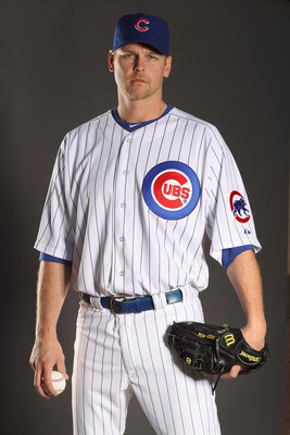 MESA, AZ - FEBRUARY 22:  Kerry Wood #34 of the Chicago Cubs poses for a portrait during media photo day at Finch Park on February 22, 2011 in Mesa, Arizona.  (Photo by Ezra Shaw/Getty Images)