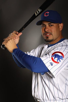 MESA, AZ - FEBRUARY 22:  Geovany Soto #18 of the Chicago Cubs poses for a portrait during media photo day at Finch Park on February 22, 2011 in Mesa, Arizona.  (Photo by Ezra Shaw/Getty Images)