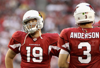 GLENDALE, AZ - DECEMBER 05:  Quarterback John Skelton #19 of the Arizona Cardinals talks with Derek Anderson #3 on the sidelines during the NFL game against the St. Louis Rams at the University of Phoenix Stadium on December 5, 2010 in Glendale, Arizona.