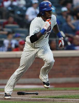NEW YORK - AUGUST 14: Jose Reyes #7 of the New York Mets runs for first base while playing against the Philadelphia Phillies at Citi Field on August 14, 2010 in the Flushing neighborhood of the Queens borough in New York City. (Photo by Andrew Burton/Gett