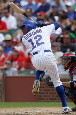 CHICAGO - MAY 30:  Alfonso Soriano #12 of the Chicago Cubs bats against the St. Louis Cardinals on May 30, 2010 at Wrigley Field in Chicago, Illinois.  (Photo by Jim McIsaac/Getty Images)