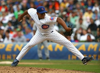 CHICAGO - AUGUST 28: Carlos Marmol #49 of the Chicago Cubs pitches in the 9th inning against the New York Mets on August 28, 2009 at Wrigley Field in Chicago, Illinois. The Cubs defeated the Mets 5-2. (Photo by Jonathan Daniel/Getty Images)