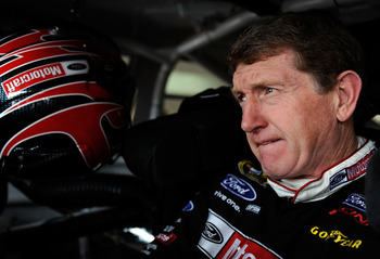 HAMPTON, GA - MARCH 07: Bill Elliott, driver of the #21 Motorcraft Ford prepares to drive during practice for the NASCAR Sprint Cup Series Kobalt Tools 500 at the Atlanta Motor Speedway on March 7, 2009 in Hampton, Georgia. (Photo by Rusty Jarrett/Getty I