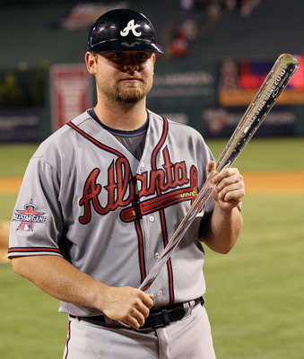 ANAHEIM, CA - JULY 13:  National League All-Star Brian McCann #16 of the Atlanta Braves poses with the MVP trophy after the 81st MLB All-Star Game at Angel Stadium of Anaheim on July 13, 2010 in Anaheim, California. The National League defeated the Americ
