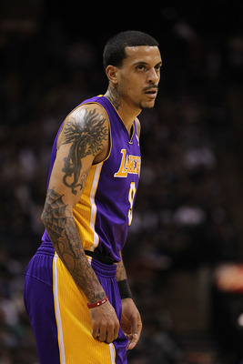 SAN ANTONIO, TX - DECEMBER 28:  Forward Matt Barnes #9 of the Los Angeles Lakers at AT&T Center on December 28, 2010 in San Antonio, Texas.  NOTE TO USER: User expressly acknowledges and agrees that, by downloading and/or using this photograph, user is co