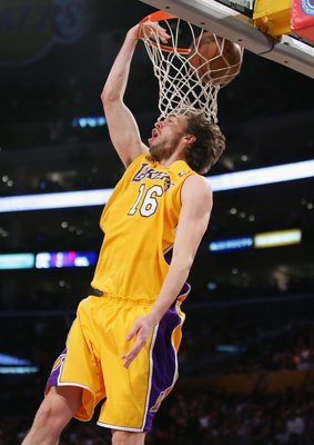 LOS ANGELES - APRIL 15:  Pau Gasol #16 of the Los Angeles Lakers puts a shot up against the Sacramento Kings at Staples Center on April 15, 2008 in Los Angeles, California.  NOTE TO USER: User expressly acknowledges and agrees that, by downloading and or