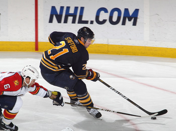 BUFFALO, NY - DECEMBER 23: Drew Stafford #21 of the Buffalo Sabres skates against Dennis Wideman #6 of the Florida Panthers at HSBC Arena on December 23, 2010 in Buffalo, New York. Florida won 4-3.  (Photo by Rick Stewart/Getty Images)