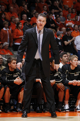 CHAMPAIGN, IL - FEBRUARY 13: Head coach Matt Painter of the Purdue Boilermakers looks on against the Illinois Fighting Illini at Assembly Hall on February 13, 2011 in Champaign, Illinois. Purdue defeated Illinois 81-70. (Photo by Joe Robbins/Getty Images)