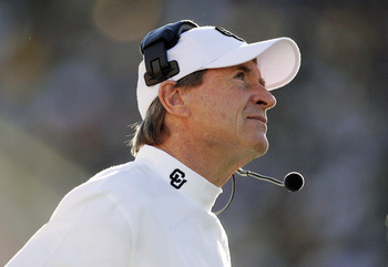 BOULDER, CO - NOVEMBER 25:  Head coach Gary Barnett of the Colorado Buffaloes looks up at the clock during a loss to the Nebraska Cornhuskers on November 25, 2005 at Folsom Field in Boulder, Colorado.  Nebraska upset Colorado 30-3.  (Photo by Brian Bahr/G