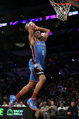 LOS ANGELES, CA - FEBRUARY 19:  Russell Westbrook #0 of the Oklahoma City Thunder competes in the Taco Bell Skills Challenge apart of NBA All-Star Saturday Night at Staples Center on February 19, 2011 in Los Angeles, California.  (Photo by Jeff Gross/Gett