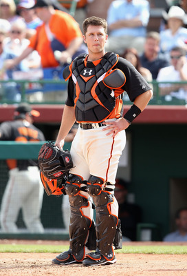 SCOTTSDALE, AZ - MARCH 01:  Catcher Buster Posey #28 of the San Francisco Giants in action during the spring training game against the Chicago Cubs at Scottsdale Stadium on March 1, 2011 in Scottsdale, Arizona.  (Photo by Christian Petersen/Getty Images)