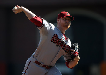 SAN FRANCISCO - SEPTEMBER 30:  Barry Enright #54 of the Arizona Diamondbacks pitches against the San Francisco Giants during a Major League Baseball game at AT&T Park on September 30, 2010 in San Francisco, California. (Photo by Jed Jacobsohn/Getty Images