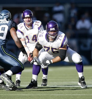 SEATTLE - OCTOBER 22:   Left guard Steve Hutchinson #76 of the Minnesota Vikings pass blocks against the Seattle Seahawks at Qwest Field on October 22, 2006 in Seattle, Washington. (Photo by Otto Greule Jr/Getty Images)
