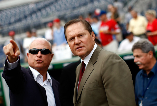 WASHINGTON - AUGUST 21:  Sports agent Scott Boras (R) talks with Washington Nationals principal owner Mark Lerner (L) during pregame warmups at Nationals Park August 21, 2009 in Washington, DC. Boras represents Stephen Strasburg, a right handed pitcher fr