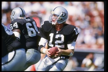 4 Oct 1992:  Quarterback Todd Marinovich of the Los Angeles Raiders looks to pass the ball during a game against the New York Giants at the Los Angeles Memorial Stadium in os Angeles, California.  The Cowboys won the game, 13-10Mandatory Credit: Ken Levin