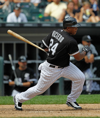 CHICAGO - JUNE 27: Dayan Viciedo #24 of the Chicago White Sox takes a swing against the Chicago Cubs at U.S. Cellular Field on June 27, 2010 in Chicago, Illinois. The Cubs defeated the White Sox 8-6. (Photo by Jonathan Daniel/Getty Images)