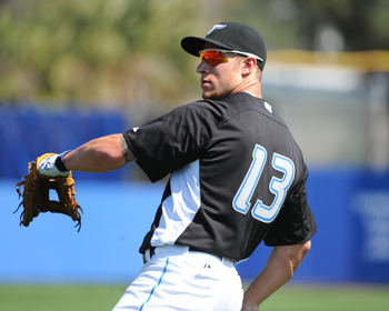 DUNEDIN, FL - FEBRUARY 26:  Infielder Brett Lawrie #13 of the Toronto Blue Jays warms up for play against the Detroit Tigers February 26, 2011 at Florida Auto Exchange Stadium in Dunedin, Florida.  (Photo by Al Messerschmidt/Getty Images)